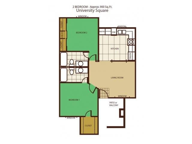 2 Bed 2 Bath Floorplan at University Square Apartments