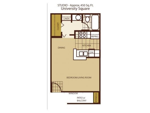 Studio Floorplan at University Square Apartments