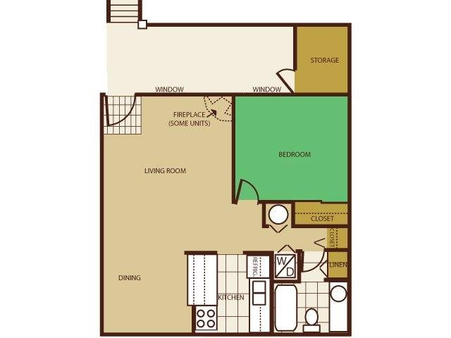 One Bed, One Bath Floorplan at Butterfield Apartments