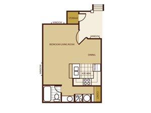 Studio Floorplan at Butterfield Apartments