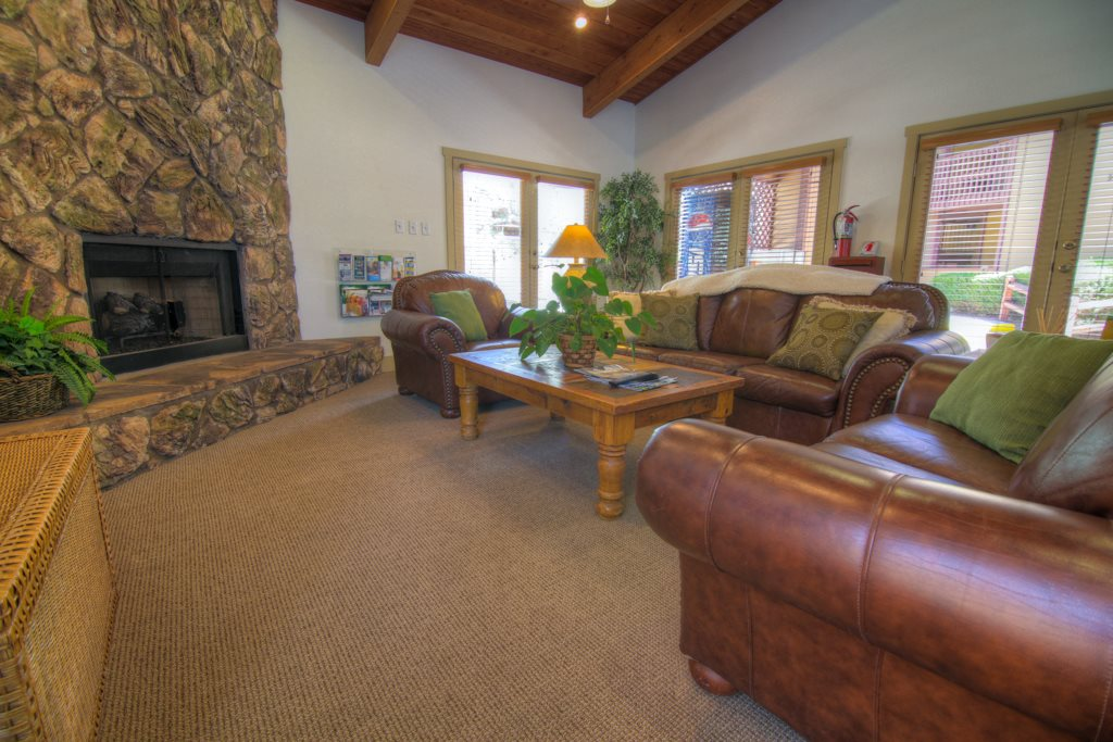 Clubhouse with Fireplace and TV at Butterfield Apartments, Flagstaff, AZ
