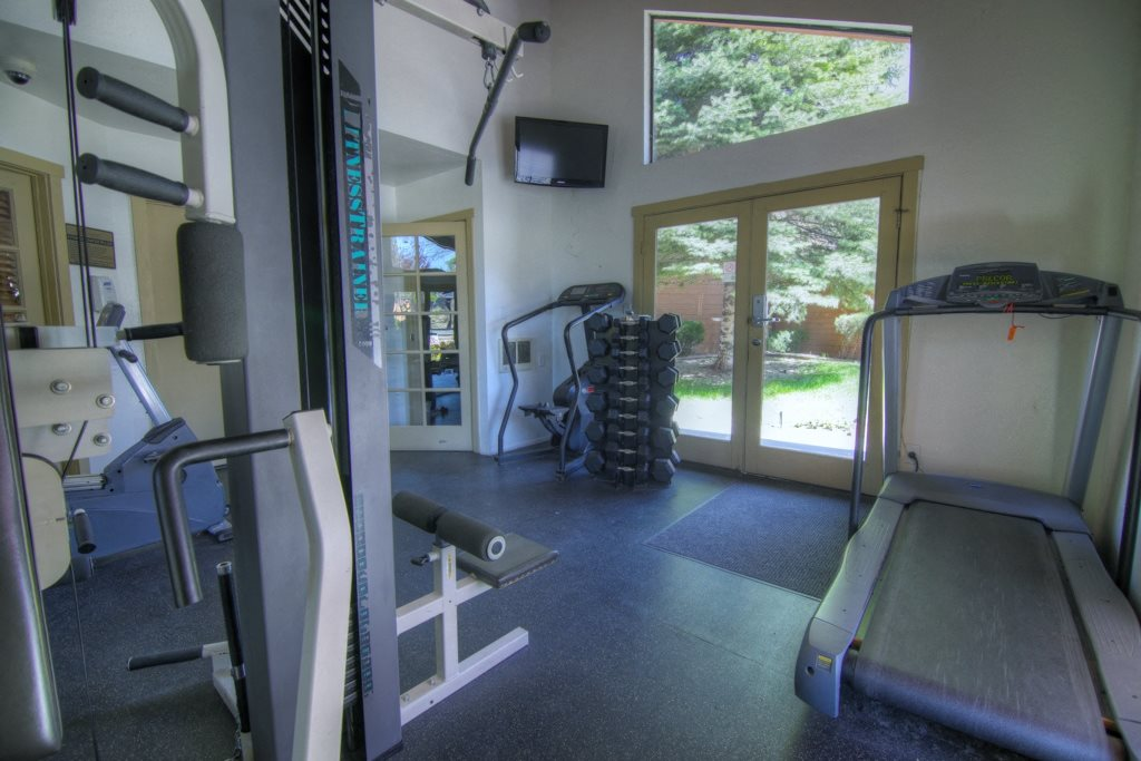 Fitness Center with Free Weights at Butterfield Apartments, Flagstaff, AZ