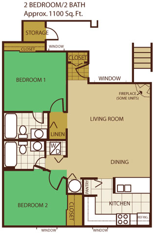 Two Bed, Two Bath Floor Plan 3