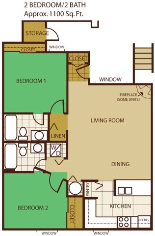 Two Bed, Two Bath Floorplan at Butterfield Apartments