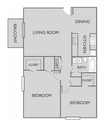 Two Bed, One Bath Floor Plan 2