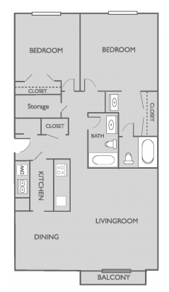 Two Bedroom Two Bathroom Corporate Floor plan Georgetown Apartments