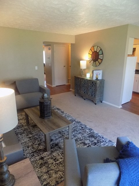 Spacious living room in Georgetowne Apartments
