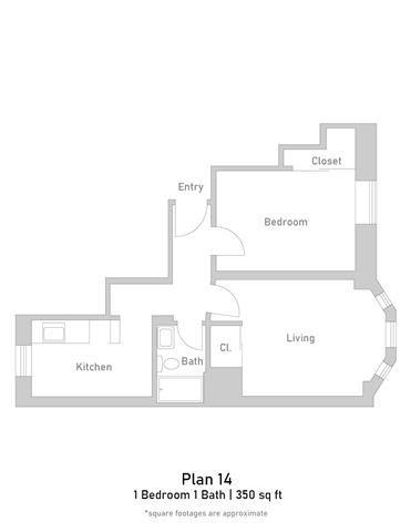 1 Bedroom - Plan 14