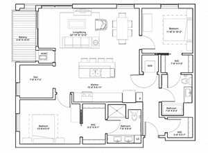 Vintage on Selby Apartments 2 Bedroom & Den Apartment Layout