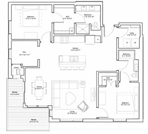 2 Bedroom & Den Apartment Floor Plan Vintage on Selby Apartments