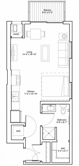 Vintage on Selby Apartments Studio Apartment Floor Plan
