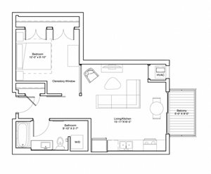 Vintage on Selby Apartments 1 Bedroom Apartment Floor Plan