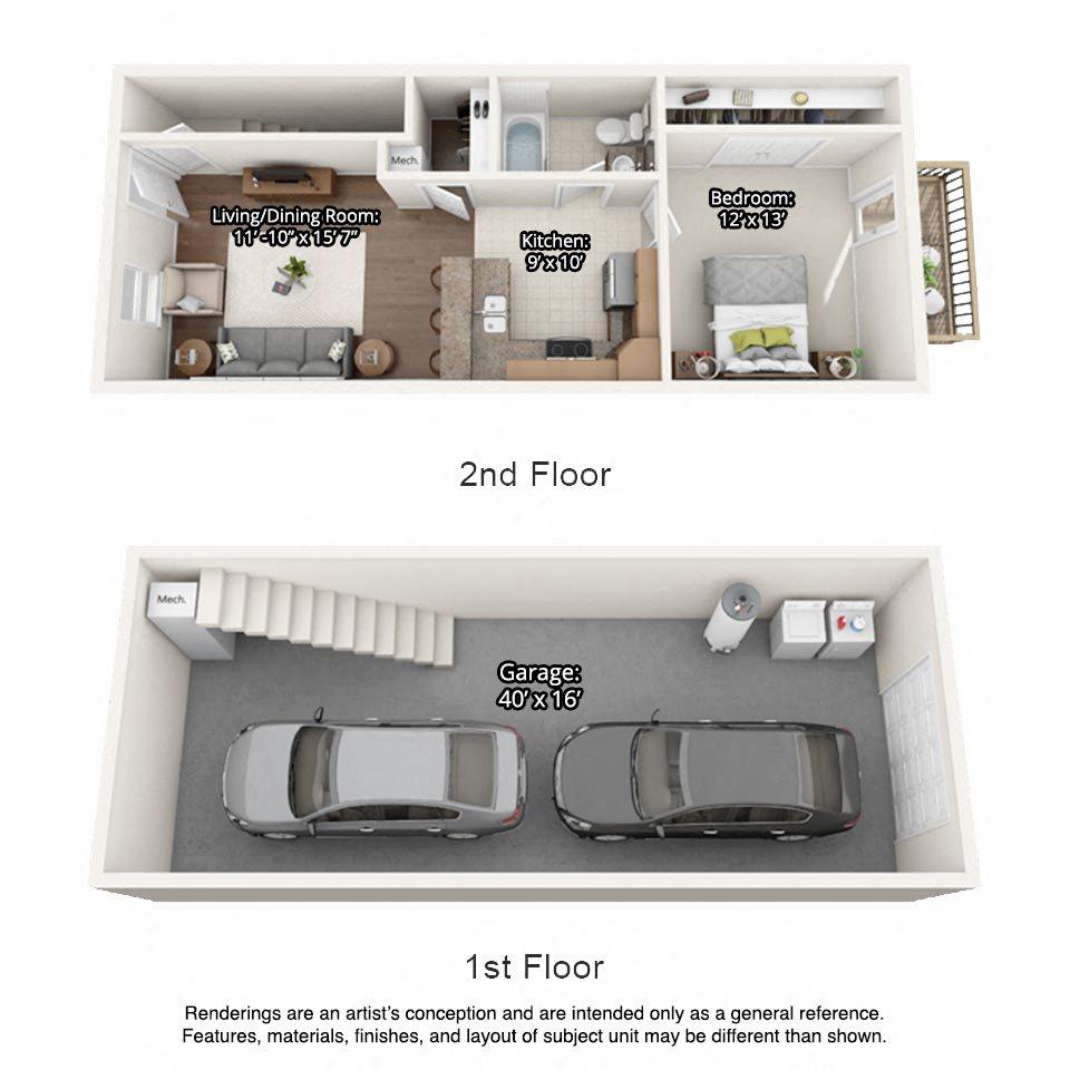 1 bedroom 3 dimensional floorplan