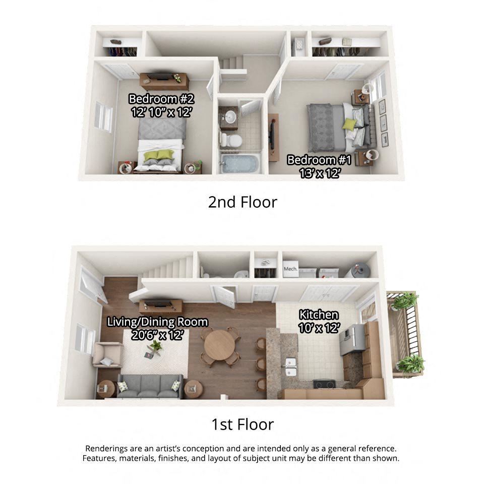 2 bedroom floorplan without garage