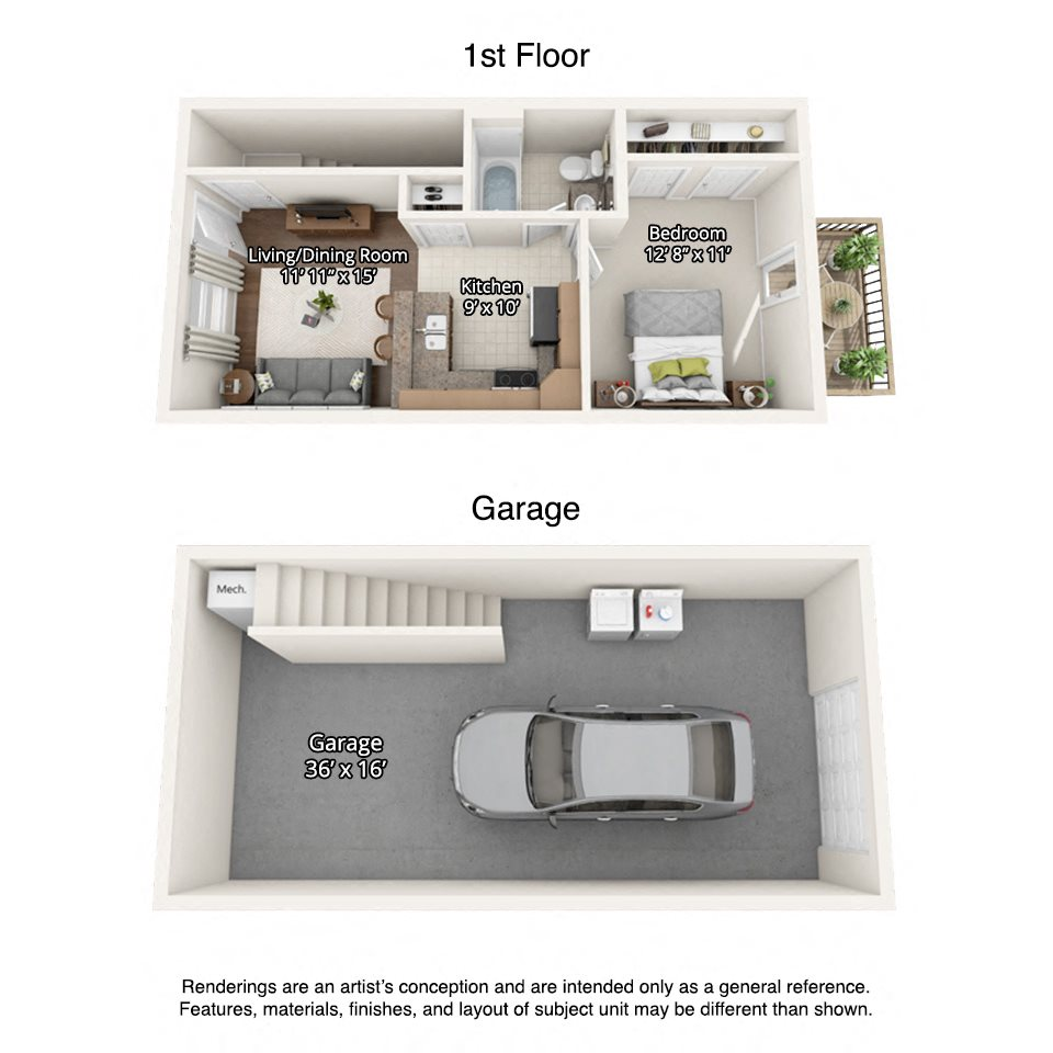 3D rendering of 576 sqft 1 bedroom townhome apartment with garage at Brush Creek Meadows