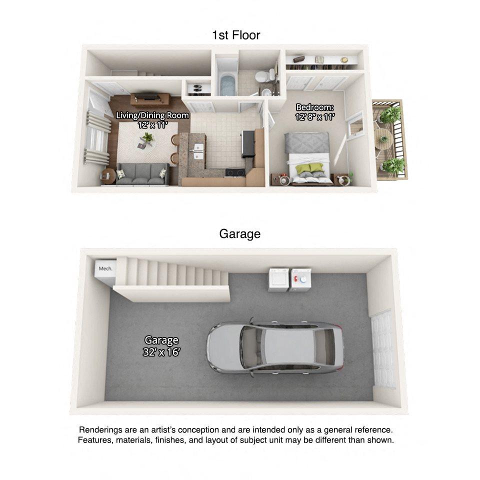 1 bedroom floorplan with garage (512 square feet)