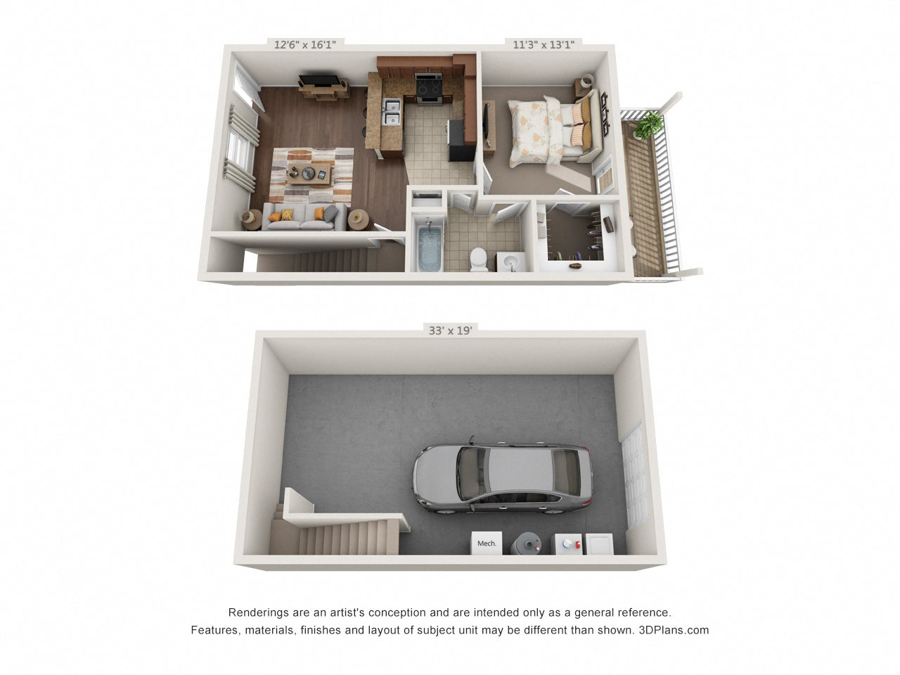1 Bedroom with Drive Under Garage (Phase 3) Floor Plan 4