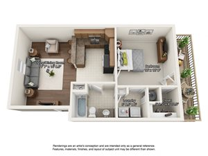 1 bedroom 3 dimensional floorplan upstairs