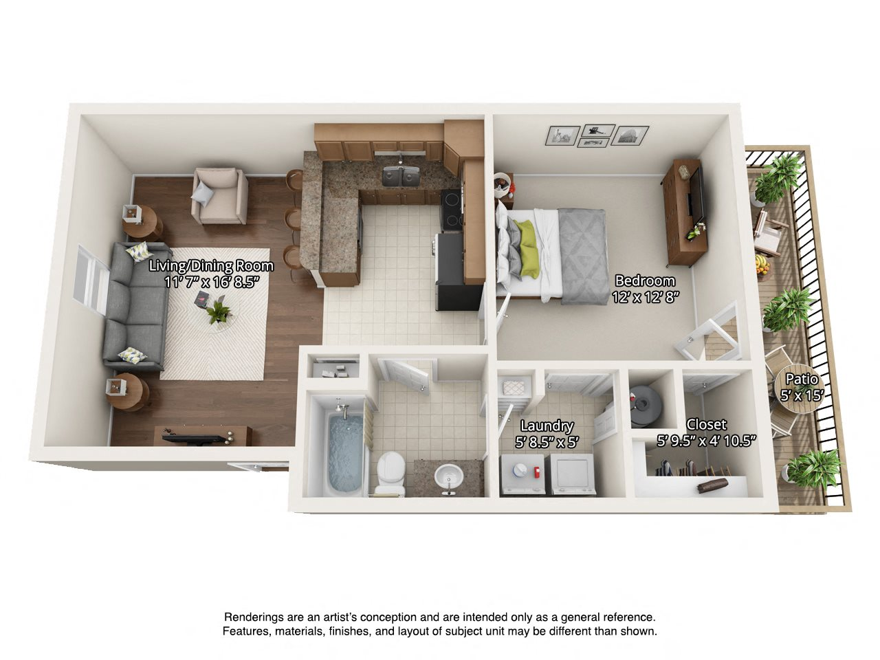 1 bedroom 3 dimensional floorplan upstairs
