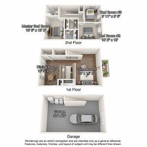 floorplan of 3 bedroom units with garages