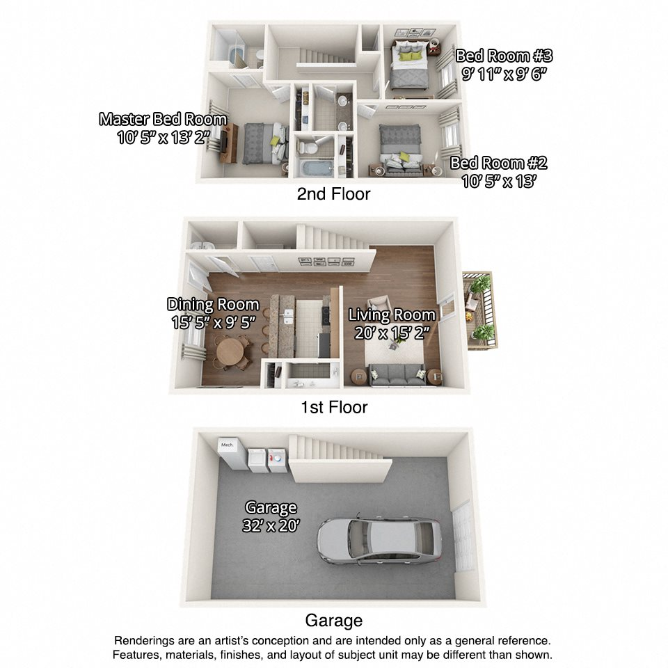 floorplan of 3 bedroom units with garages