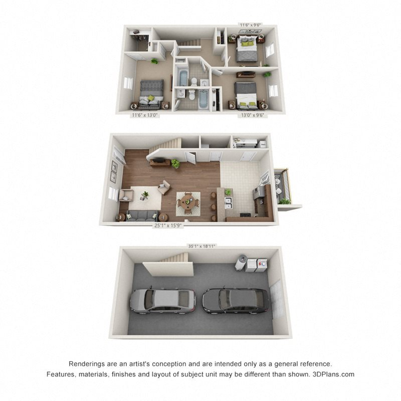 A 3D floorplan of the 3 bedroom layout at Pickens Bridge Village