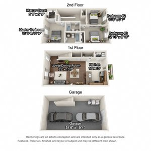 A 3D floorplan of the 3 bedroom layout at Stone Crest Townhomes