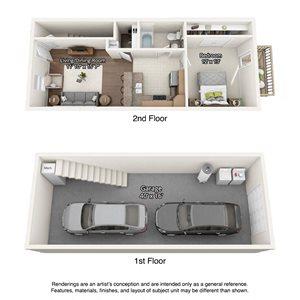 1 bedroom floorplan with garage