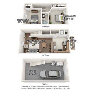 2 bedroom floorplan with garage