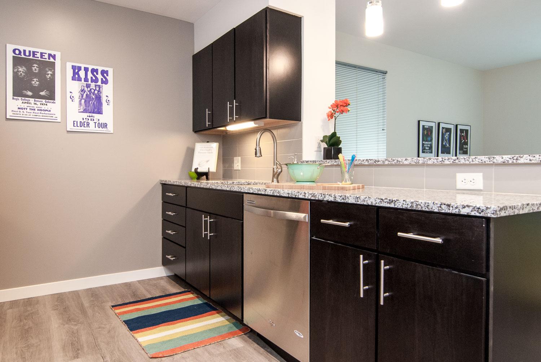 Modern kitchen at Innova Apartments in University Circle