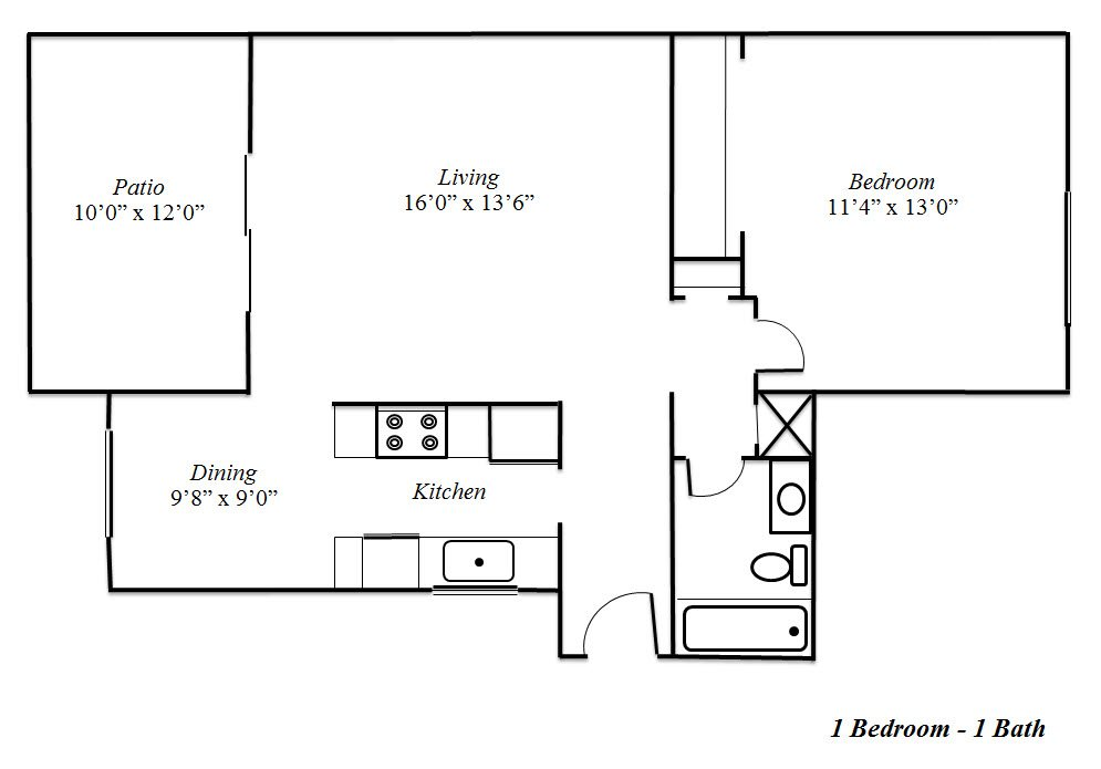 One Bedroom Floorplan at Sedona Apartment Homes