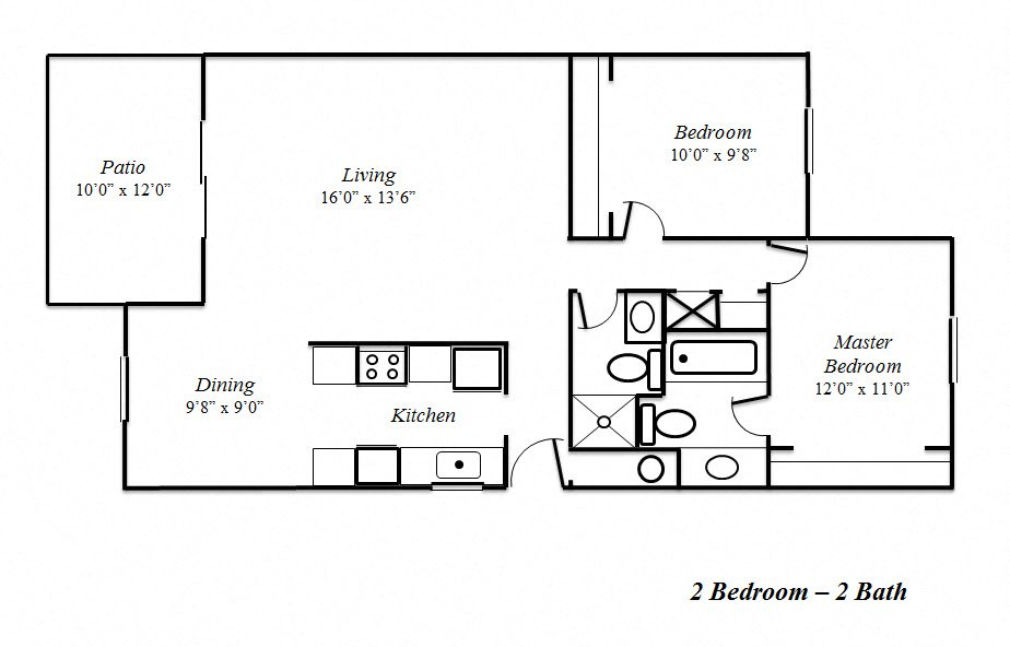 Two Bedroom-Two Bath Floorplan at Sedona Apartments, CA
