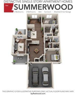 Summerwood- 2 Bed, 2 Bath, Den, Sunroom, 2-Car Garage
