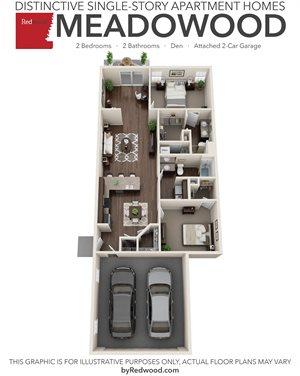Meadowood - 2 Bedroom 2 Bathroom, Den, Two Car Garage