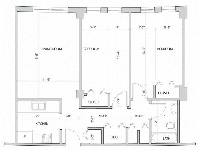 Midrise 2 bedroom Floor Plan 2