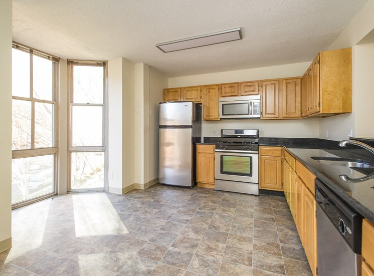 The Townhomes at Tent City Apartments feature eat in kitchens with gas ranges