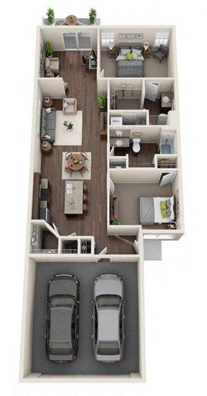 Rosewood- 2 Bed, 2 Bath, Den, 2-Car Garage