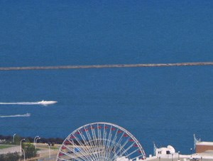 Breathtaking views of Navy Pier from Columbus Plaza 60601.