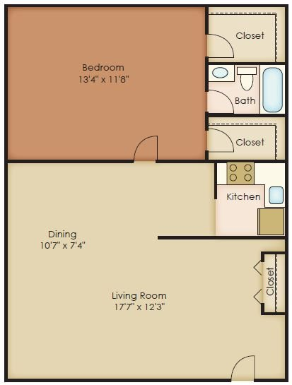 1 Bedroom Junior Floor Plan 1