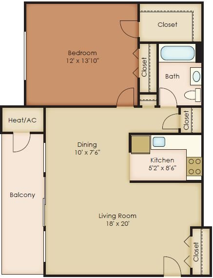 1 Bedroom Floor Plan 2