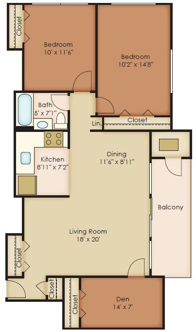 2 Bedroom Den Floor Plan 7
