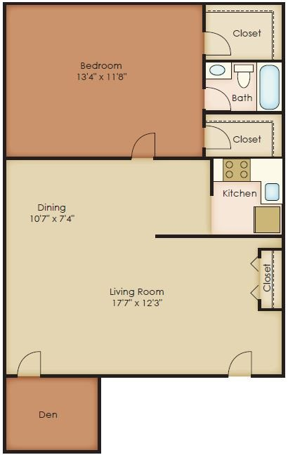 1 Bedroom Den Floor Plan 4