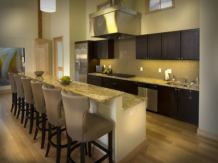 Clubhouse Kitchen at The Greens at Van de Water Apartments in Loveland, CO
