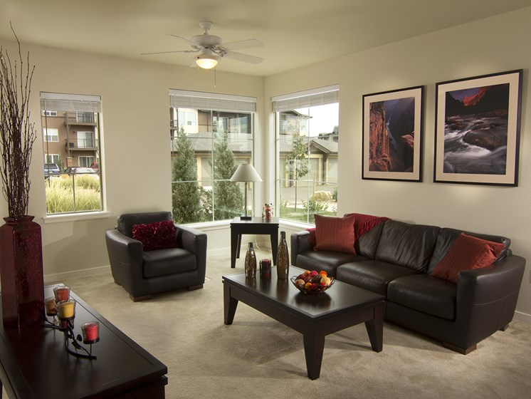 Living Room at The Greens at Van de Water Apartments in Loveland, CO