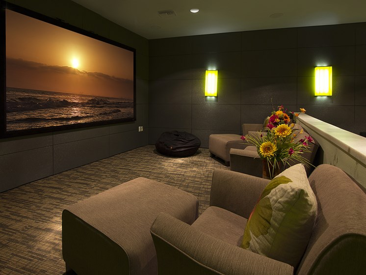 Theater Room at The Greens at Van de Water Apartments in Loveland, CO