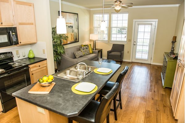 Island Kitchens with beautiful countertops at Westmoore Apartments in Oklahoma City, OK
