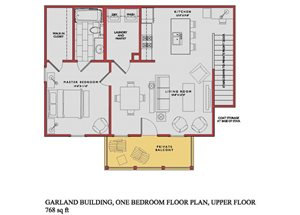 Spacious Garland Upper Floor Plan at Traditions at Westmoore Apartments in Oklahoma City, OK