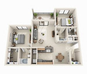 The Clare Floor Plan | 2 Bed 2 Bath | 1,056 sq.ft.