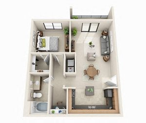 Dublin Floor Plan | 1 Bed 1 Bath | 760 sq.ft.