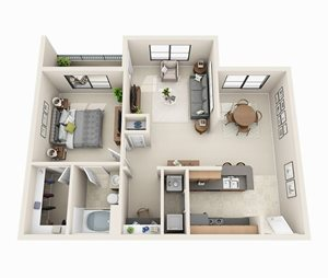 The Longford Floor Plan | 1 Bed 1 Bath | 814 sq.ft.